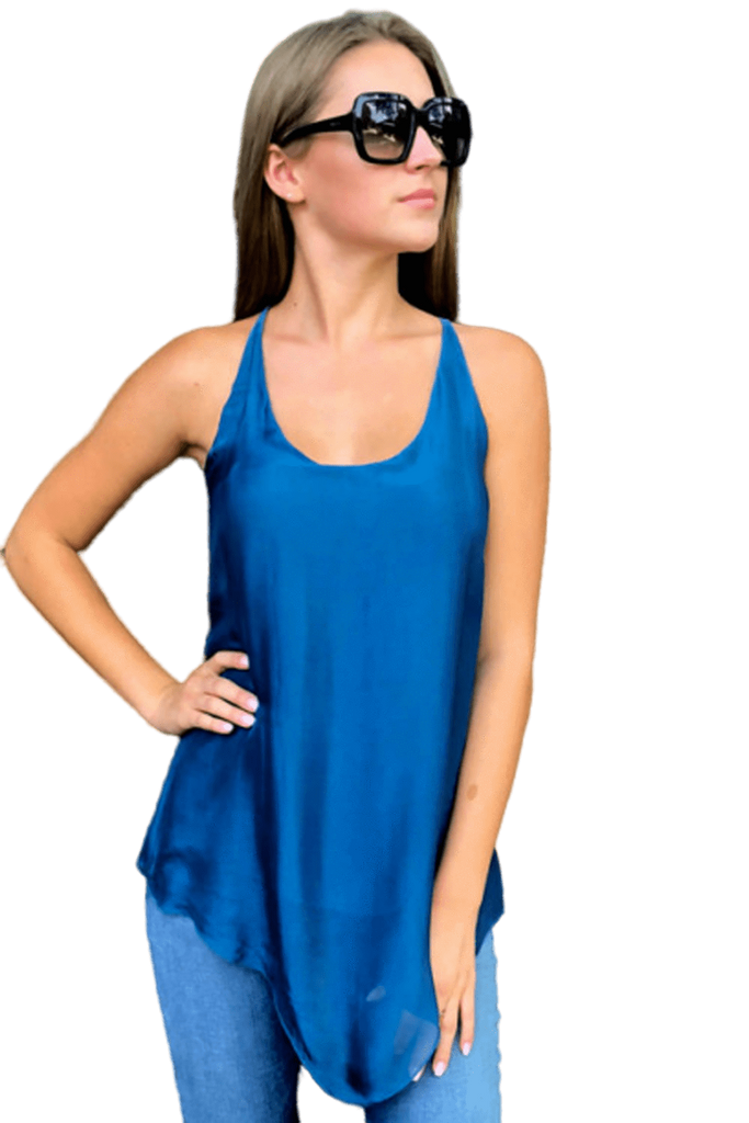 shop-sofia Sofia Teal Racer Back Tank Top Sofia Collections Italian Silk Linen Satin