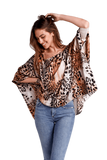 shop-sofia Sofia Tiger Print Top Sofia Collections Italian Silk Linen Satin