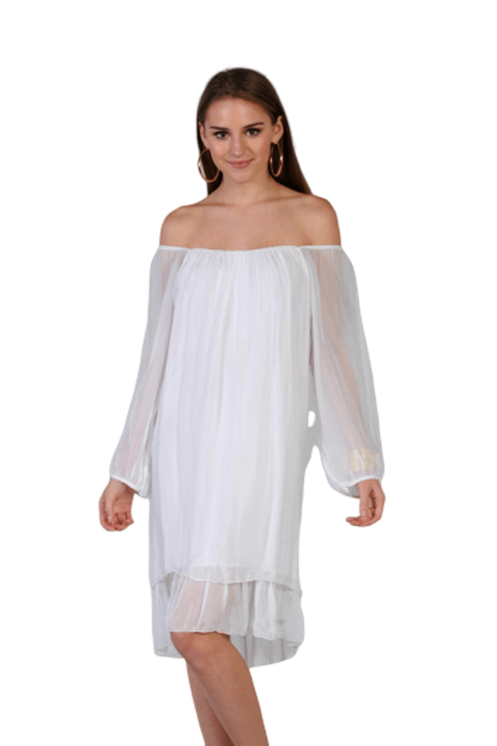 shop-sofia Sofia White Dress Sofia Collections Italian Silk Linen Satin