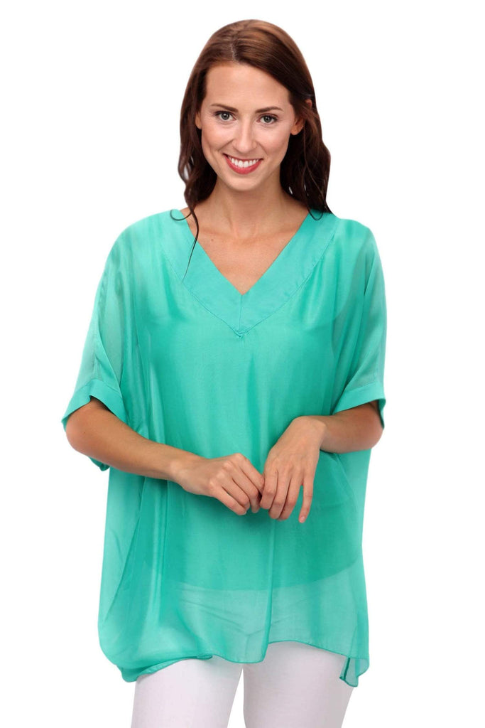 shop-sofia Sophie Emerald Top Sofia Collections Italian Silk Linen Satin
