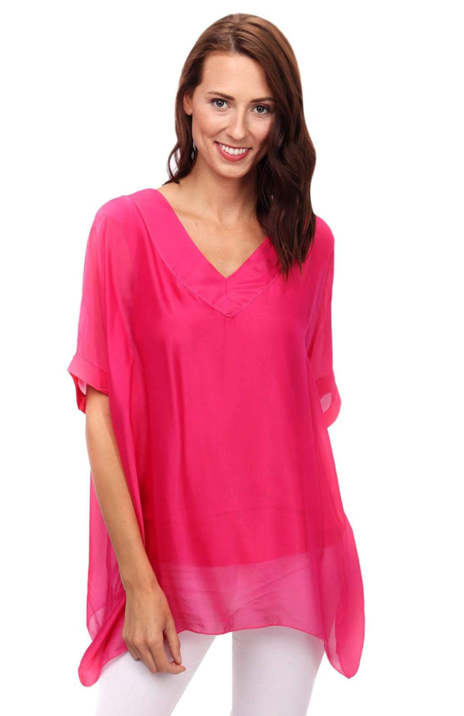 shop-sofia Sophie Fuchsia Top Sofia Collections Italian Silk Linen Satin
