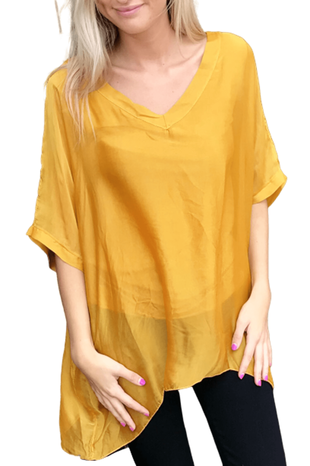 shop-sofia Sophie Mustard Top Sofia Collections Italian Silk Linen Satin