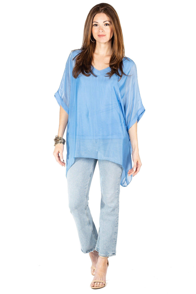 shop-sofia Sophie Periwinkle Top Sofia Collections Italian Silk Linen Satin