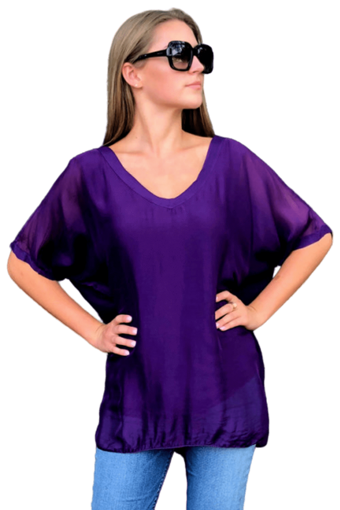 shop-sofia Sophie Purple Top Sofia Collections Italian Silk Linen Satin