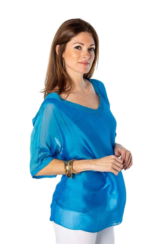 shop-sofia Silk Tops Sophie Top Sofia Collections Italian Silk Linen Satin