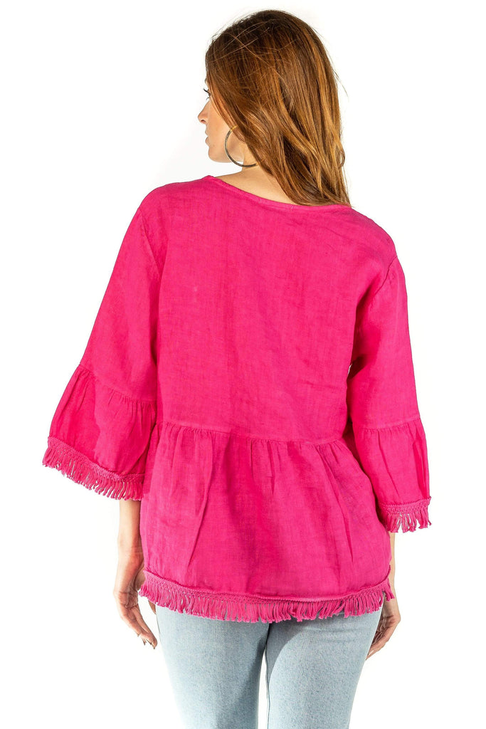 shop-sofia Stella Fuchsia Top Sofia Collections Italian Silk Linen Satin