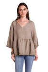 shop-sofia Stella Taupe Top Sofia Collections Italian Silk Linen Satin