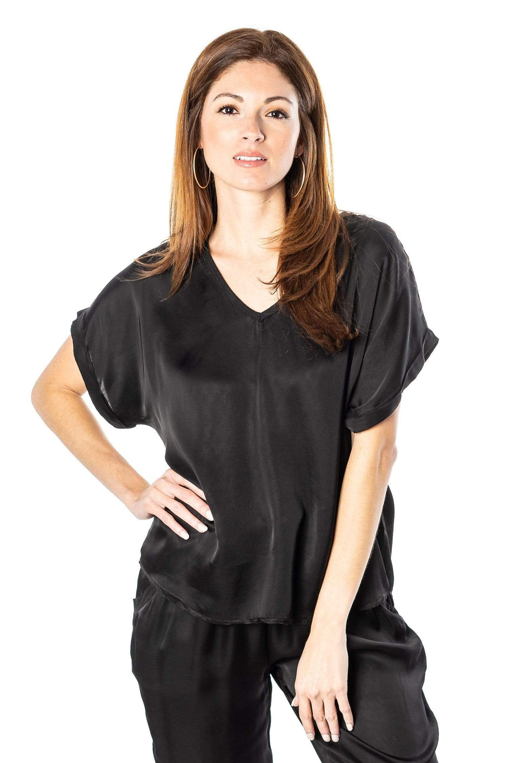 shop-sofia Steph Black V-Neck Top Sofia Collections Italian Silk Linen Satin
