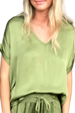 shop-sofia Steph Cactus V-Neck Top Sofia Collections Italian Silk Linen Satin