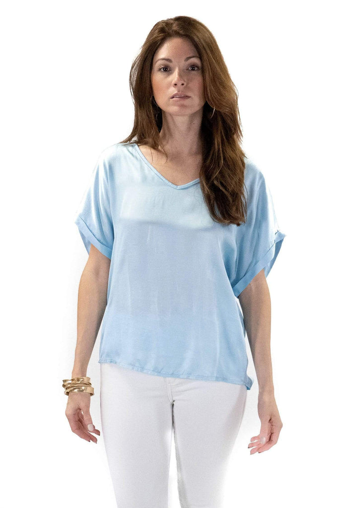 shop-sofia Steph Celeste V-Neck Top Sofia Collections Italian Silk Linen Satin
