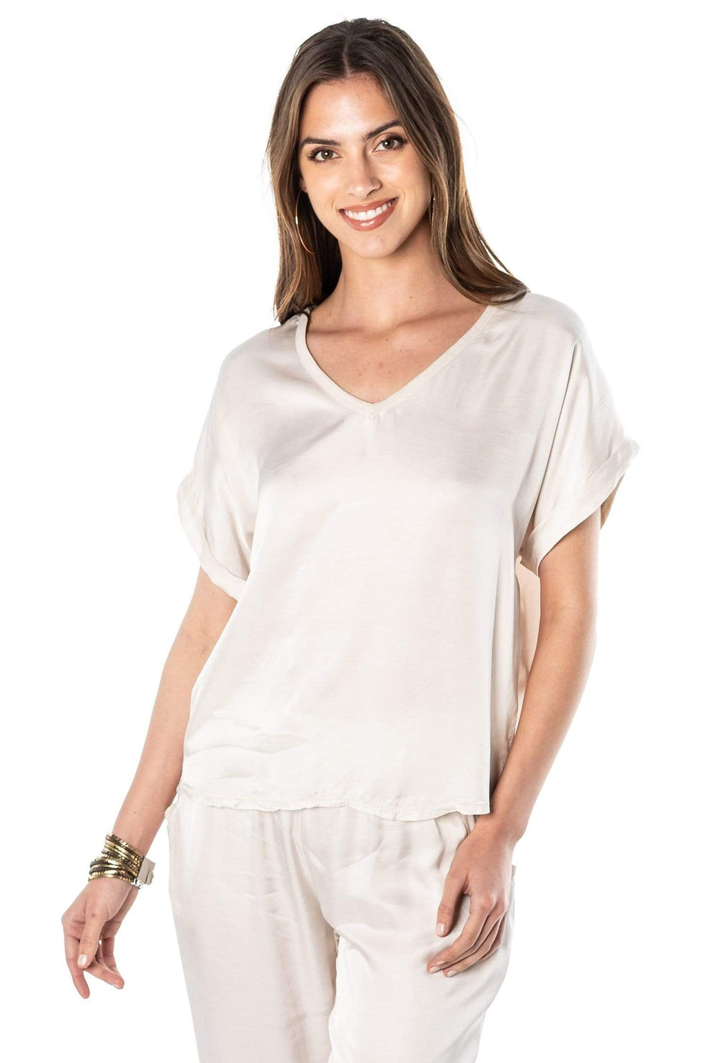 shop-sofia Steph Champagne V-Neck Top Sofia Collections Italian Silk Linen Satin