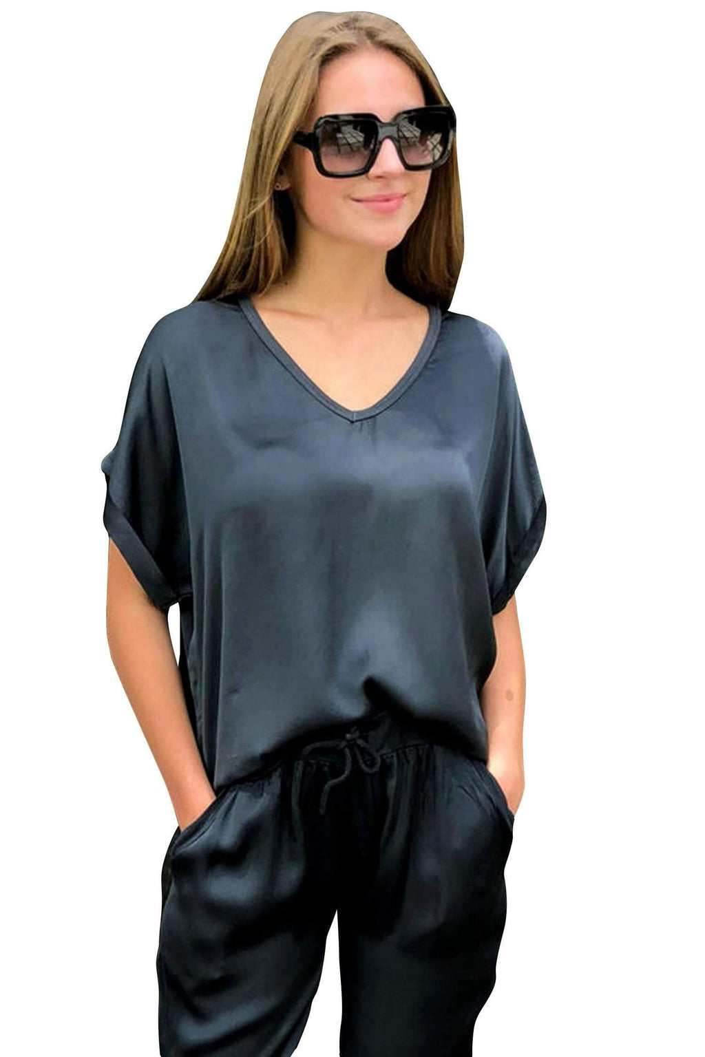 shop-sofia Steph Charcoal V-Neck Top Sofia Collections Italian Silk Linen Satin