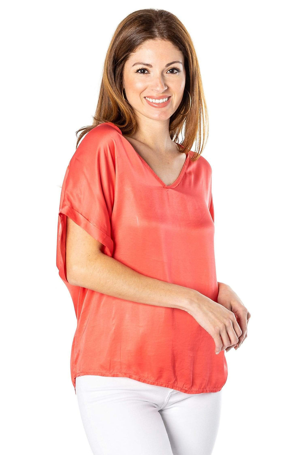 shop-sofia Steph Coral V-Neck Top Sofia Collections Italian Silk Linen Satin
