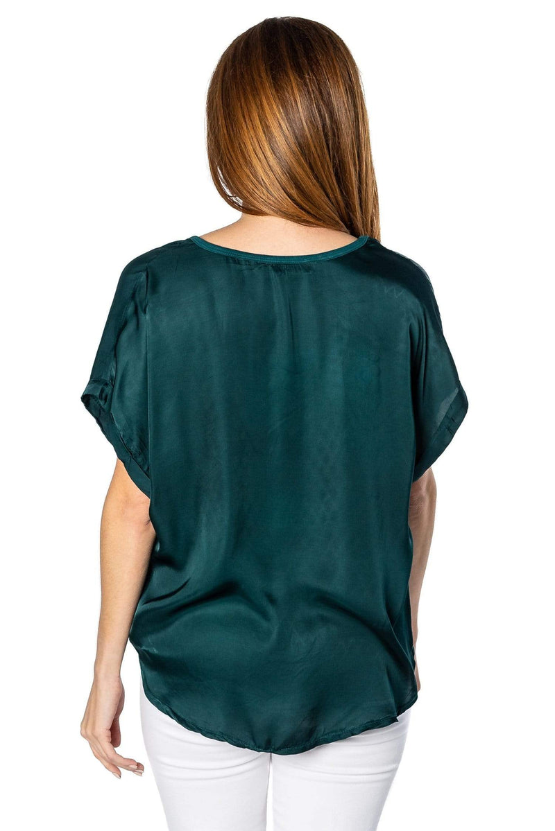 shop-sofia Steph Forest Green V-Neck Top Sofia Collections Italian Silk Linen Satin