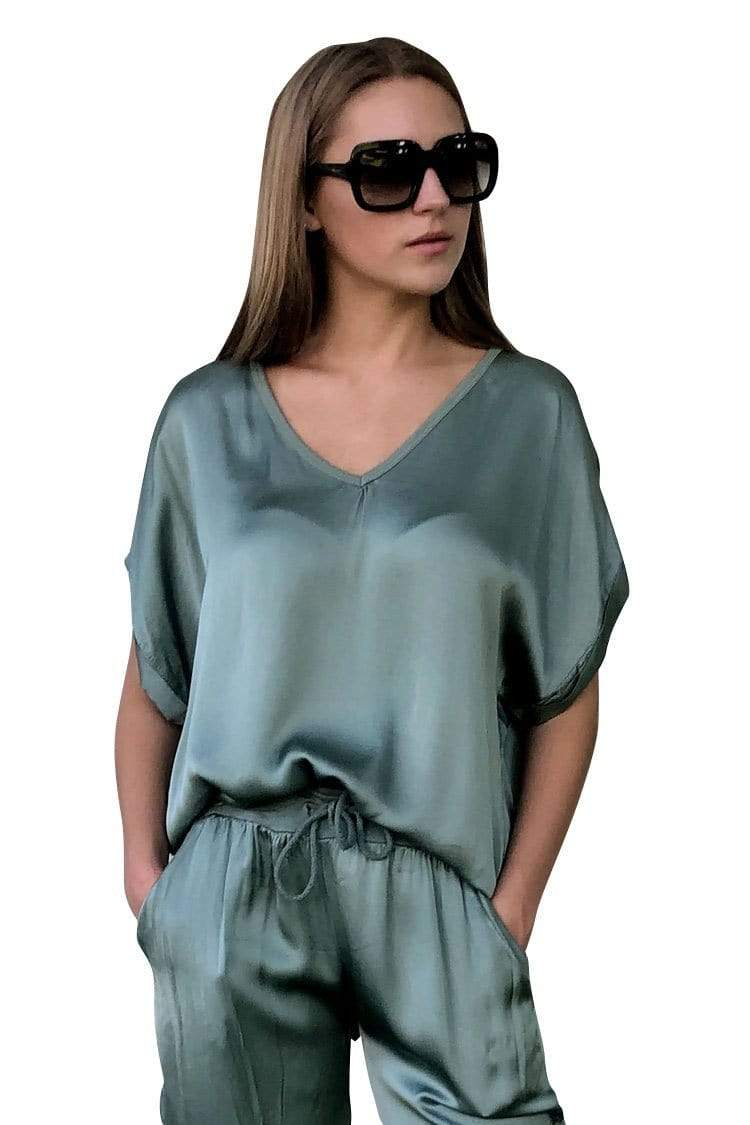 shop-sofia Steph Military V-Neck Top Sofia Collections Italian Silk Linen Satin