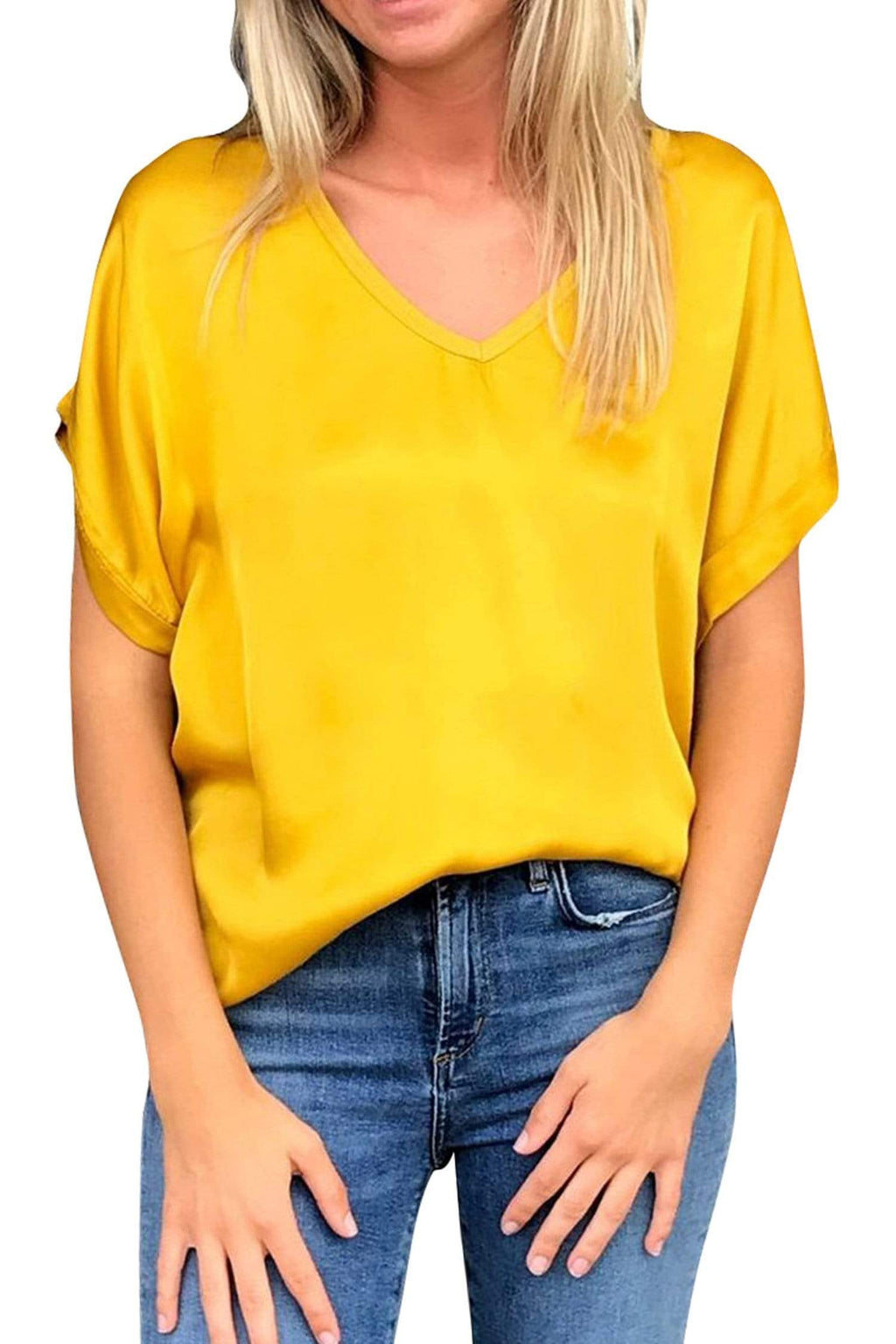 shop-sofia Steph Mustard V-Neck Top Sofia Collections Italian Silk Linen Satin