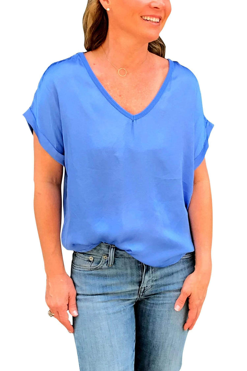 shop-sofia Steph Periwinkle V-Neck Top Sofia Collections Italian Silk Linen Satin