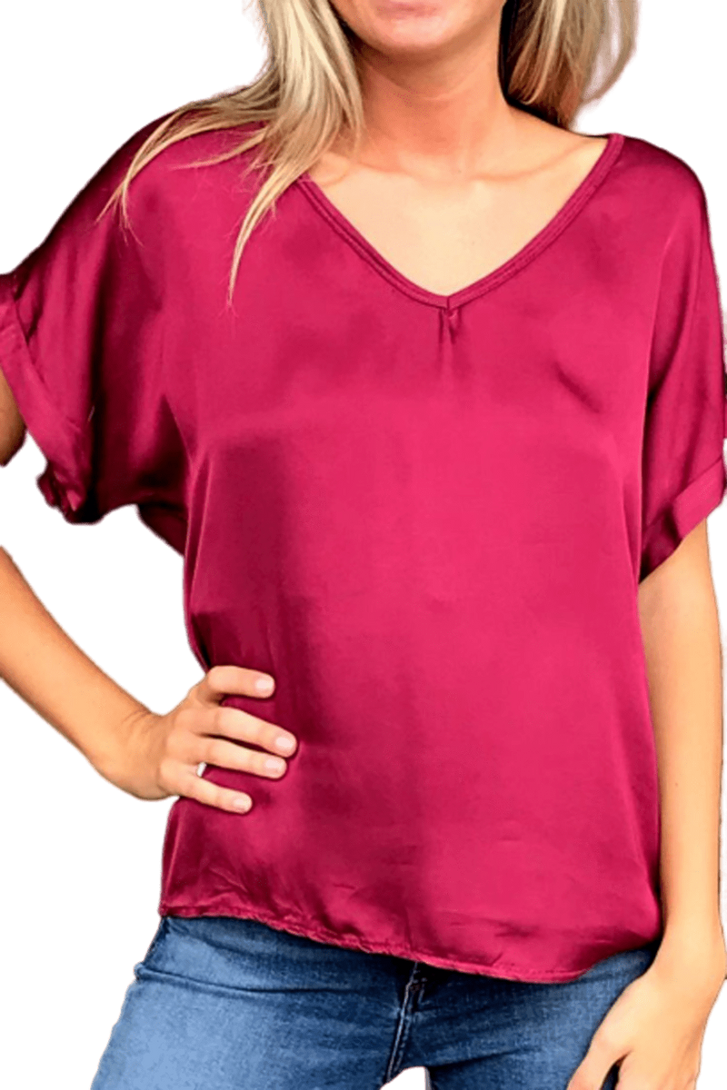 shop-sofia Steph Vino V-Neck Top Sofia Collections Italian Silk Linen Satin