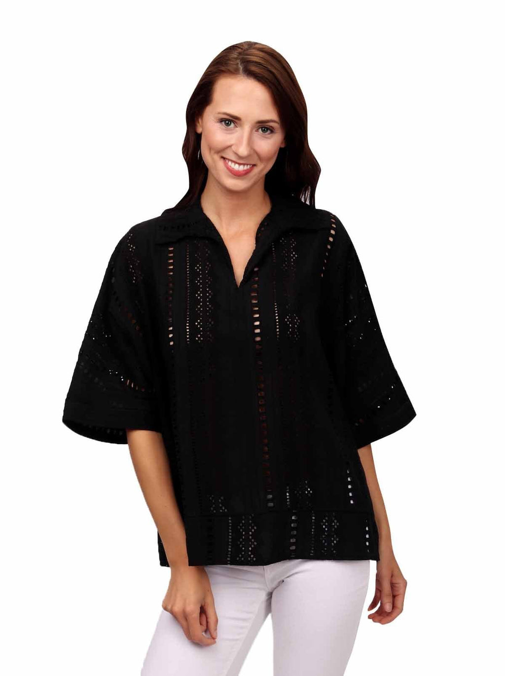 shop-sofia Tops BLACK Susan Top Sofia Collections Italian Silk Linen Satin