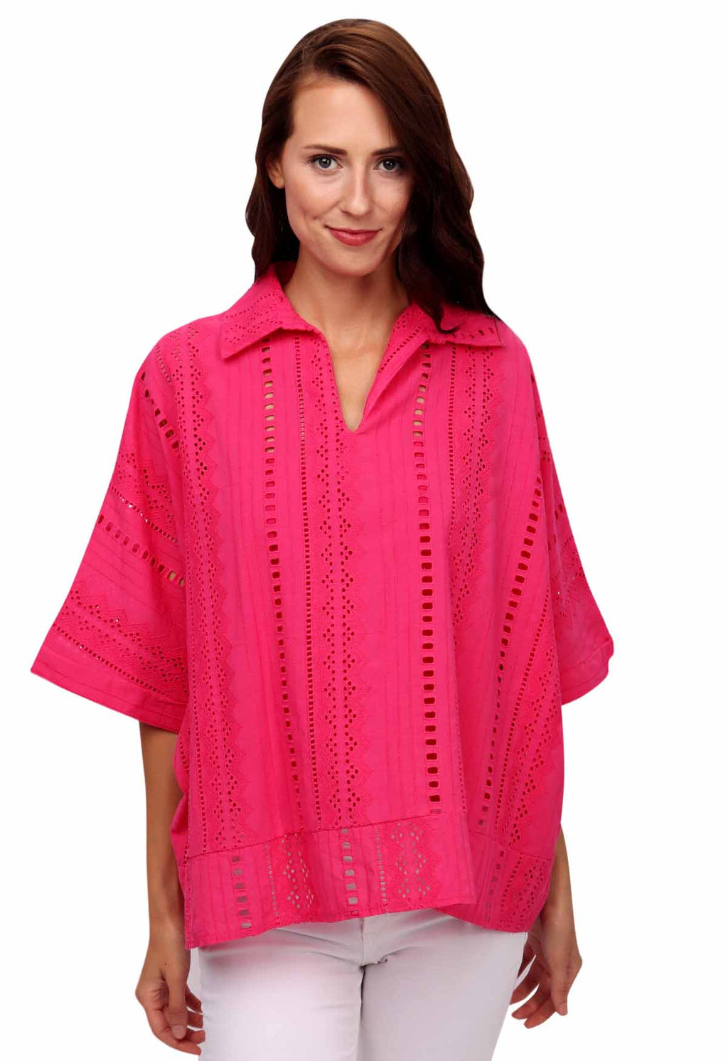 shop-sofia Tops FUCHSIA Susan Top Sofia Collections Italian Silk Linen Satin