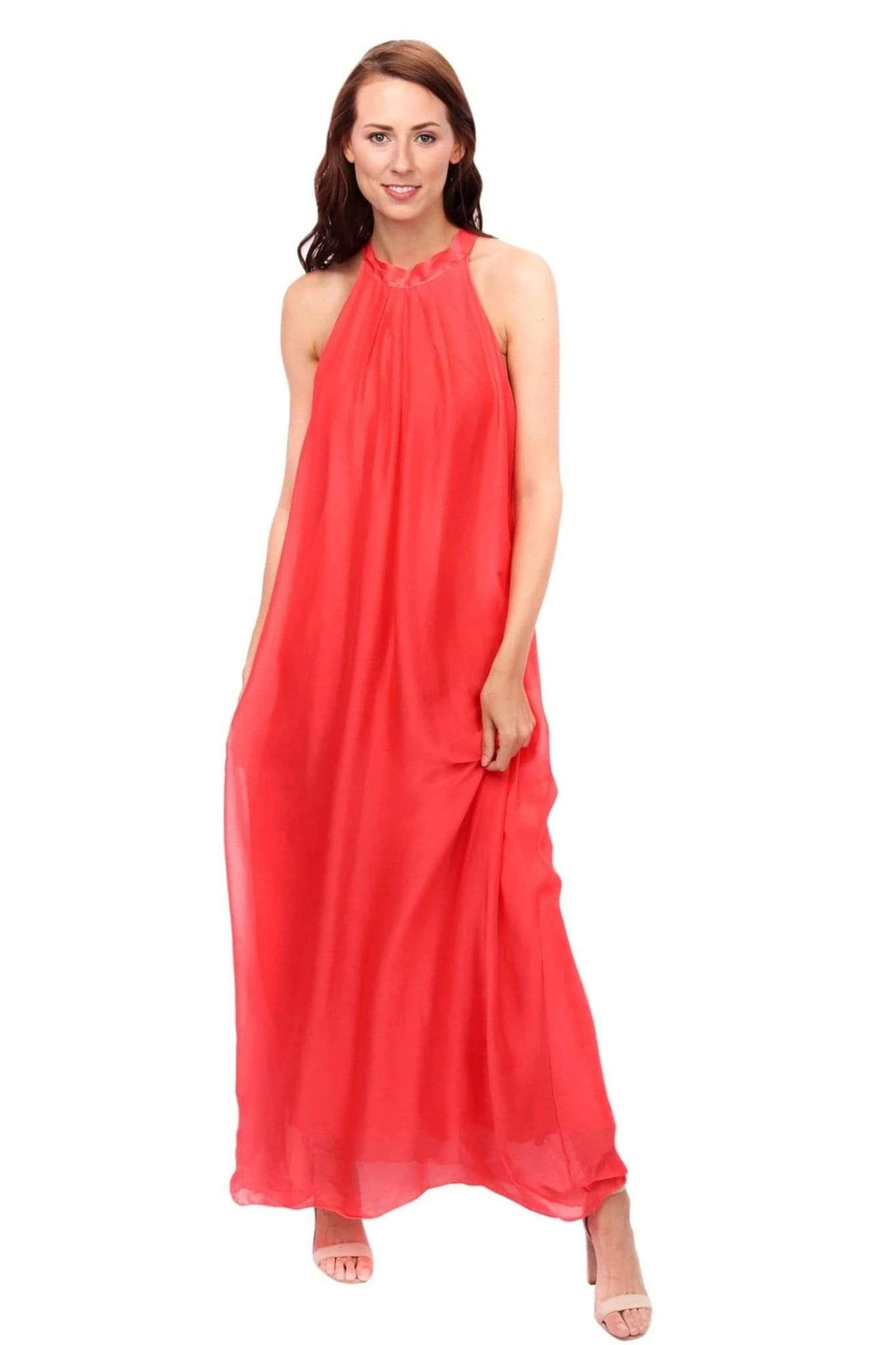 shop-sofia Tania  A Line Sleeveless Maxi Dress Sofia Collections Italian Silk Linen Satin