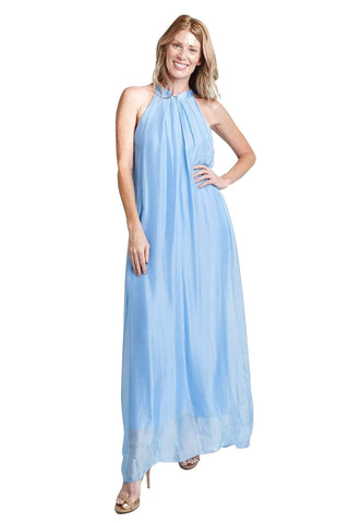 shop-sofia Tania Celeste A Line Sleeveless Maxi Dress Sofia Collections Italian Silk Linen Satin