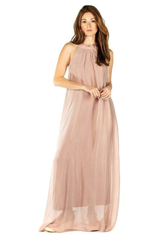 shop-sofia Tania Sand A Line Sleeveless Maxi Dress Sofia Collections Italian Silk Linen Satin
