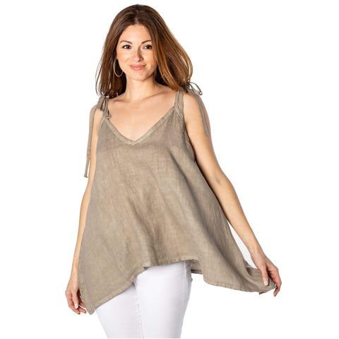 shop-sofia Taupe Linen Tank Top Sofia Collections Italian Silk Linen Satin