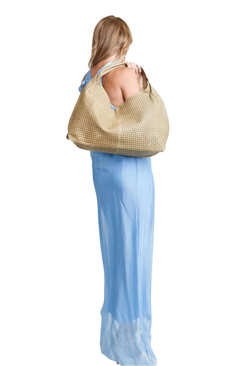 shop-sofia Taupe Waffle Emboss Italian Leather Tote Sofia Collections Italian Silk Linen Satin