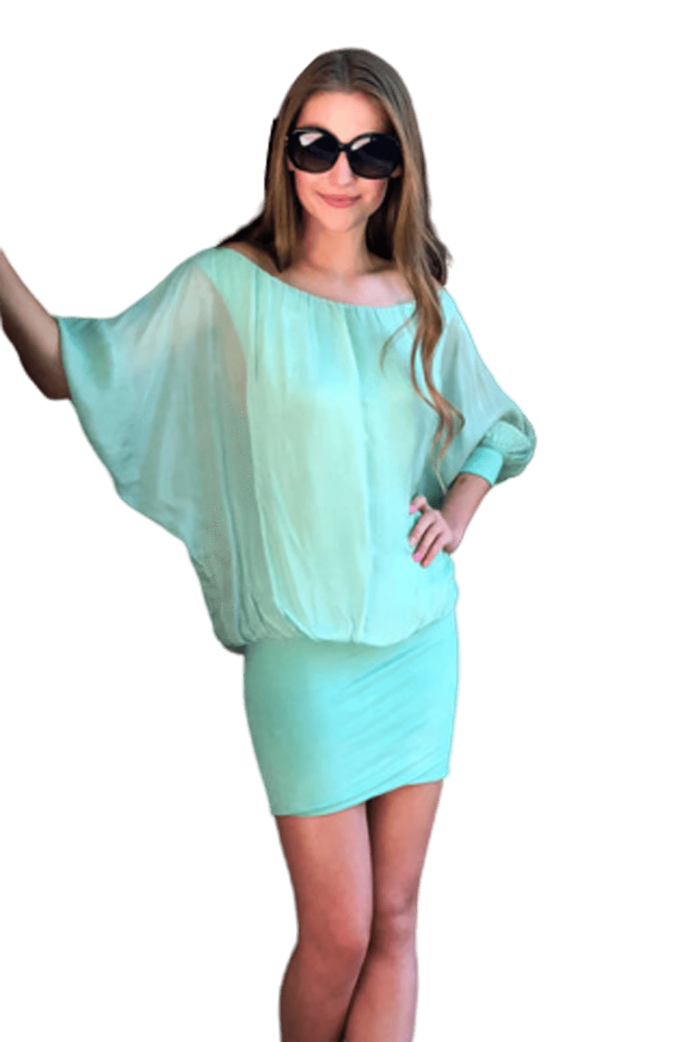 shop-sofia Tiara Mint Off the Shoulder Dress Sofia Collections Italian Silk Linen Satin