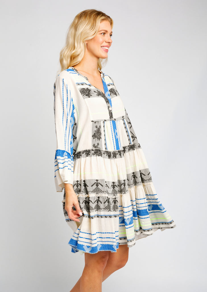 TORI DRESS IN AZTEC PRINT ROYAL BLUE