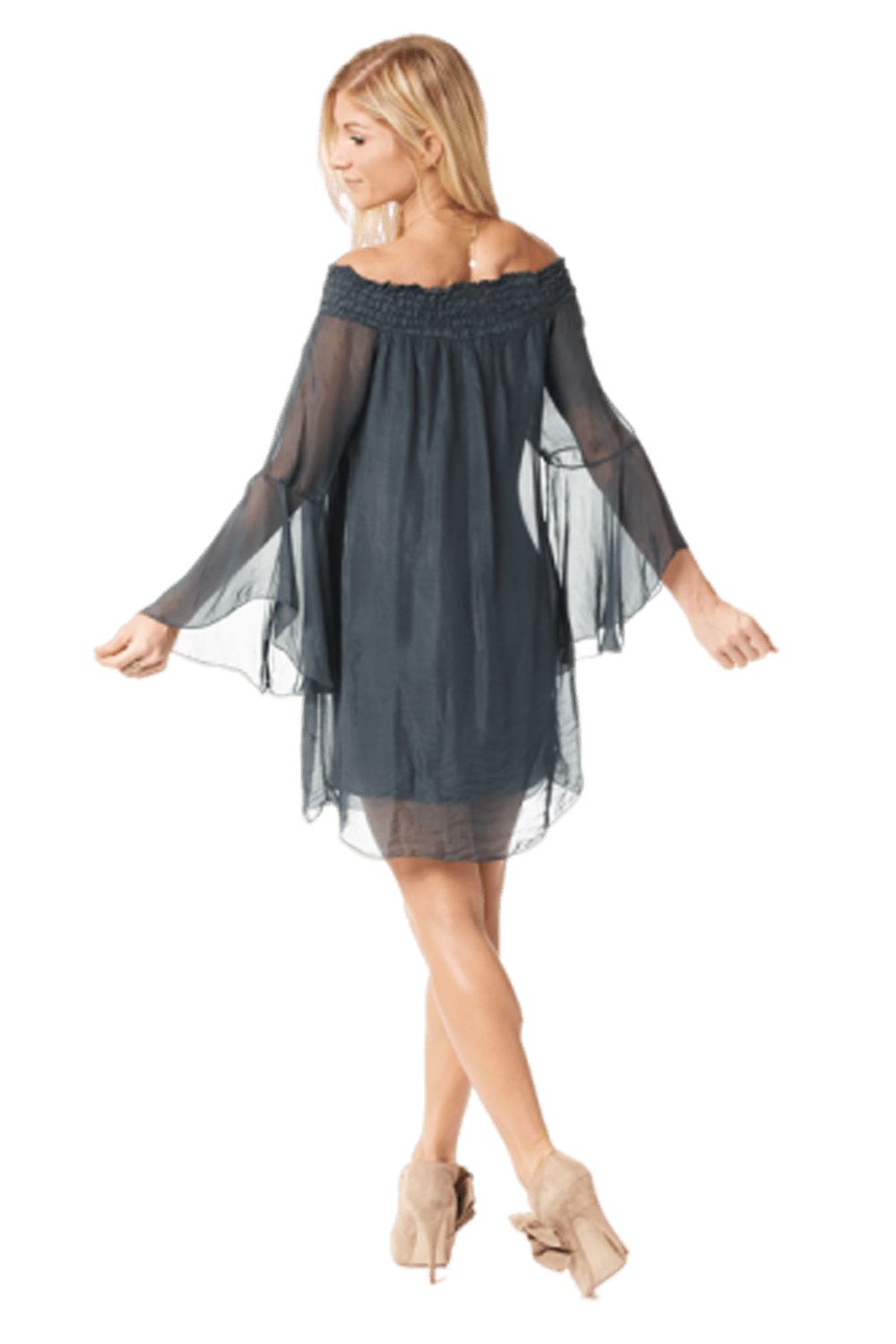 shop-sofia Tracie Boho Tunic Sofia Collections Italian Silk Linen Satin