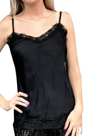 shop-sofia Trexie Black Lace Stitching Sleeveless Tank Sofia Collections Italian Silk Linen Satin