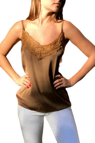 shop-sofia Trexie Camel Lace Stitching Sleeveless Tank Sofia Collections Italian Silk Linen Satin