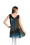 shop-sofia Turquoise Print A Line Sleeveless Top Sofia Collections Italian Silk Linen Satin