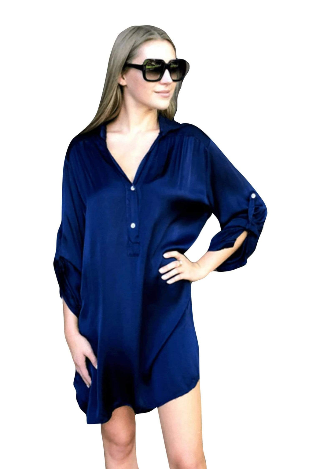 shop-sofia Unica Navy Dress Sofia Collections Italian Silk Linen Satin