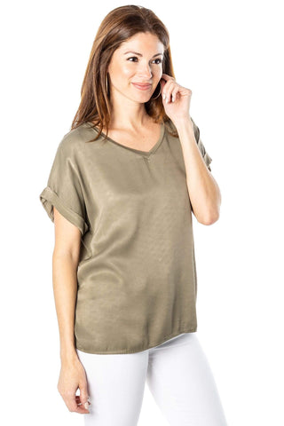 shop-sofia V-Neck Top Sofia Collections Italian Silk Linen Satin