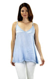 shop-sofia Viera Cielo Tank Top Sofia Collections Italian Silk Linen Satin