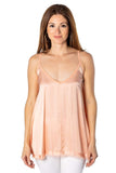 shop-sofia Viera Peach Tank Top Sofia Collections Italian Silk Linen Satin