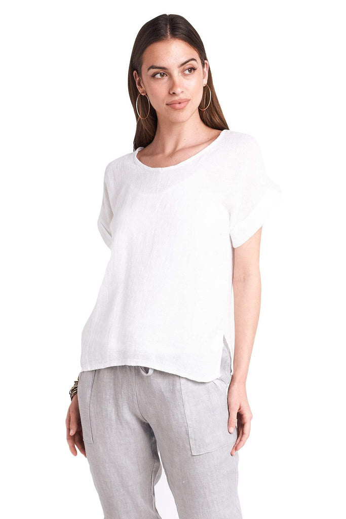 shop-sofia White Top Sofia Collections Italian Silk Linen Satin