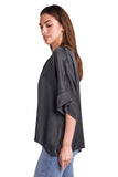 shop-sofia Yassy Charcoal Loose Top Sofia Collections Italian Silk Linen Satin
