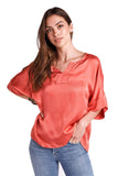 shop-sofia Yassy Coral Loose Top Sofia Collections Italian Silk Linen Satin