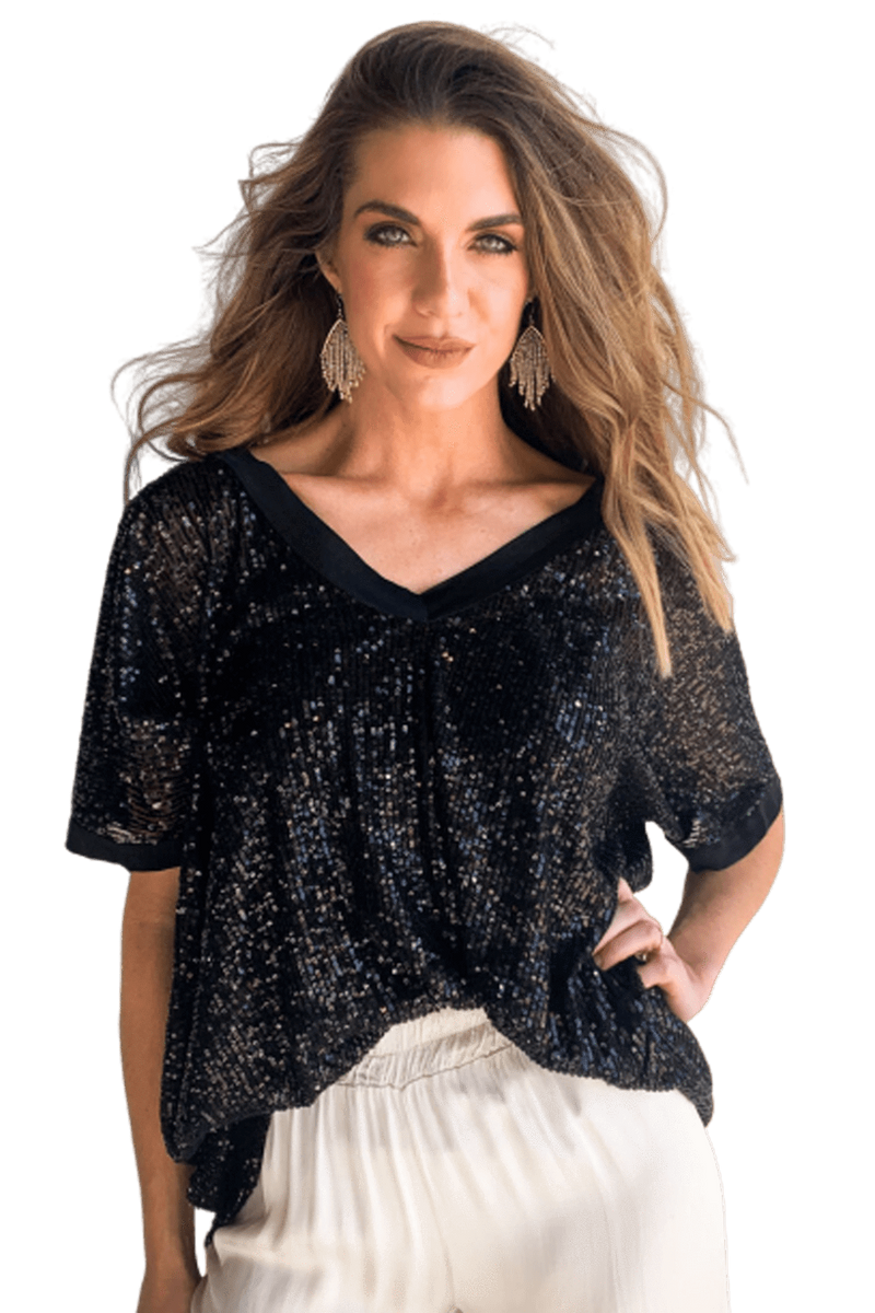 shop-sofia ZEN BLACK TOP Sofia Collections Italian Silk Linen Satin