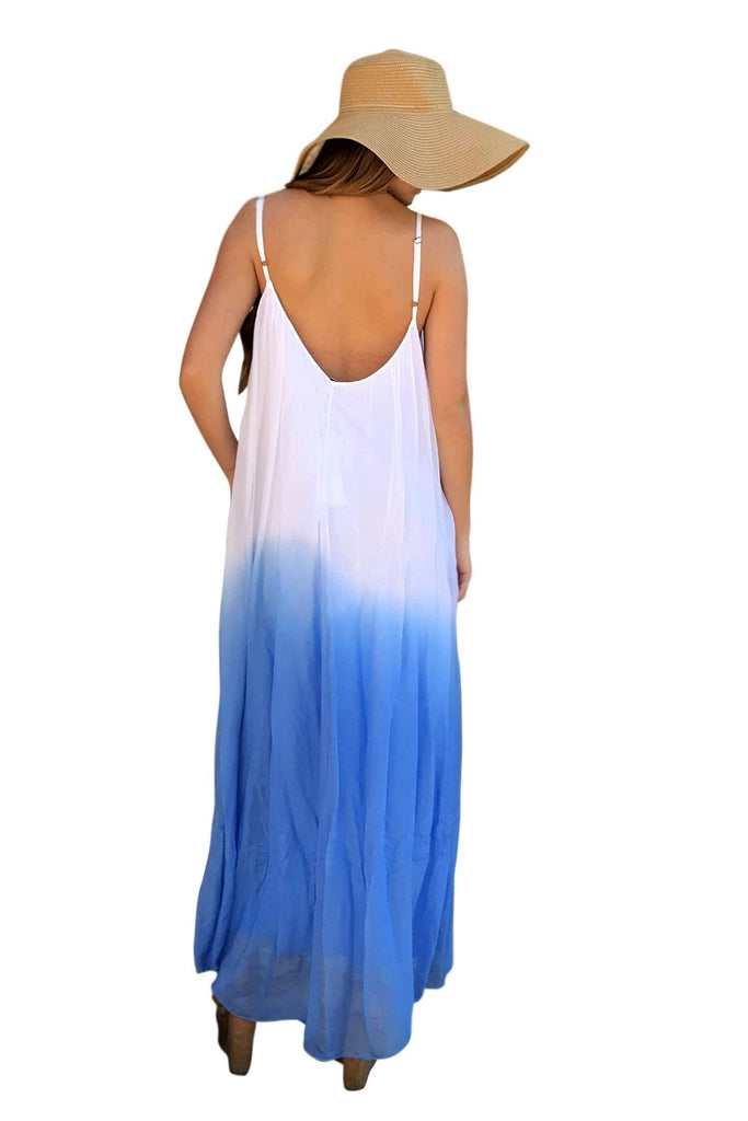 shop-sofia Zoey White Royal Sleeveless Maxi Sofia Collections Italian Silk Linen Satin