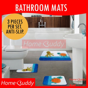 Bathroom Floor Mats Seaworld [3 Pieces/Set. Anti-Slip] Ready Stocks!