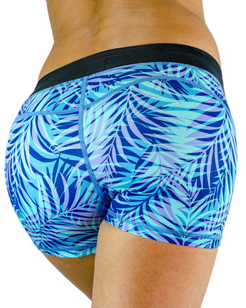 Womens Booty Shorts - Palm- Blue