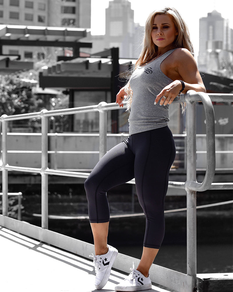Ladies Active Racerback- Mesh Grey