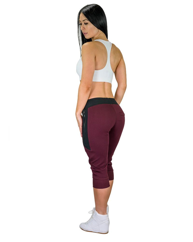 Womens Meshtech 3/4 Training Pant- Burgundy