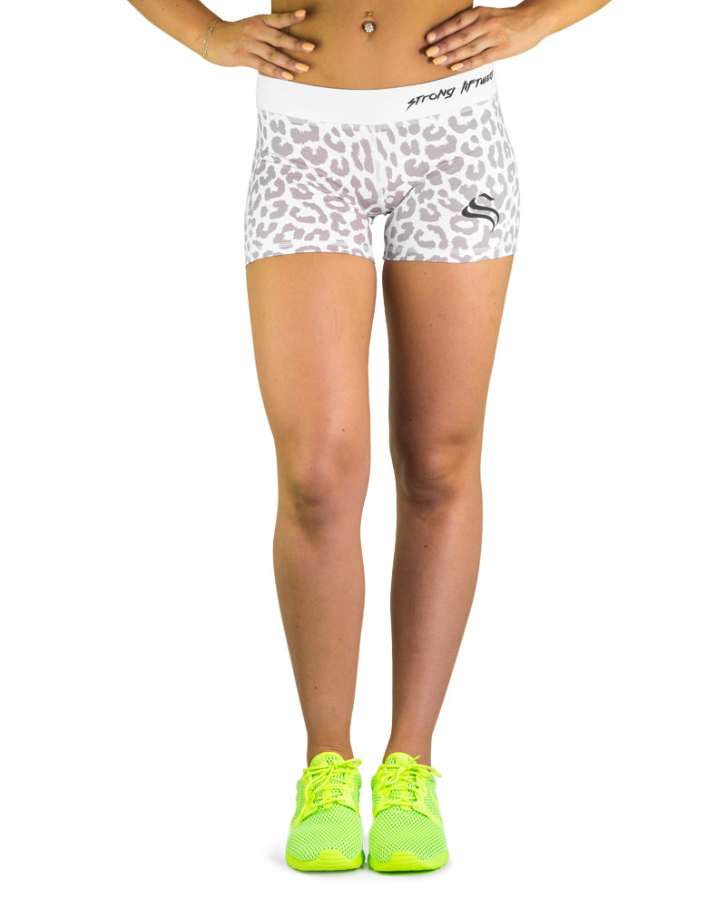 Womens Booty Shorts - Leopard - White