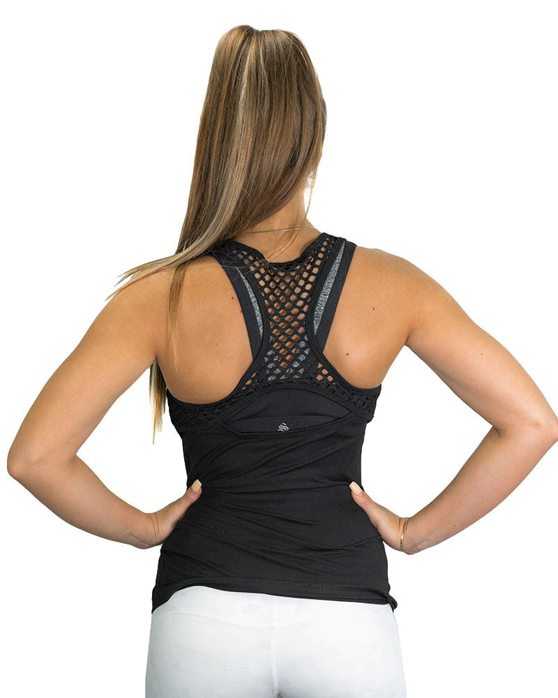 Ladies Active Racerback- Mesh Black